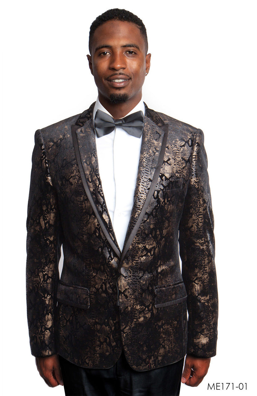 Black/Gold Empire Show Blazers Formal Dinner Suit Jackets For Men ME171-01