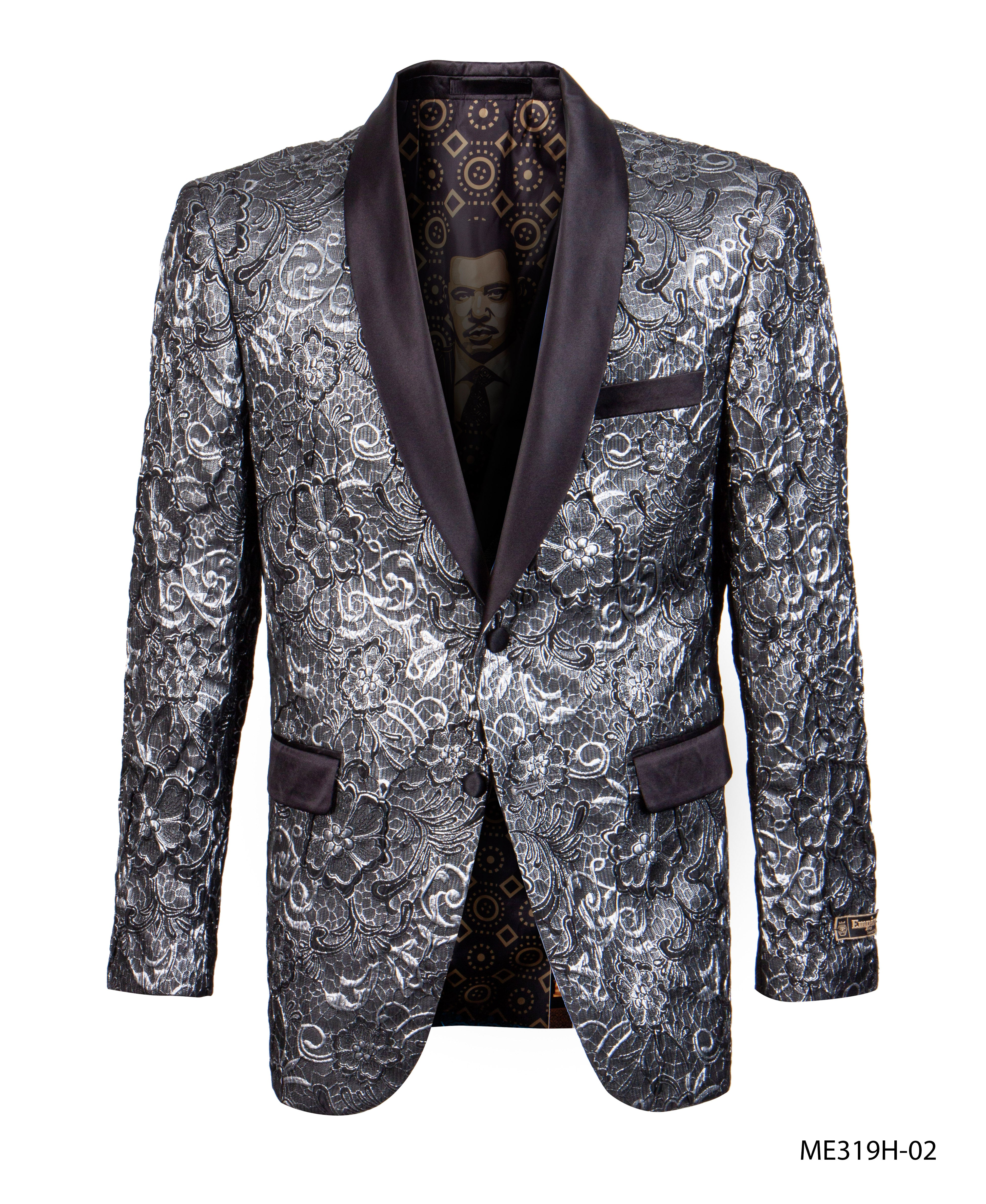Black/Silver Empire Show Blazers Formal Dinner Suit Jackets For Men ME319H-02