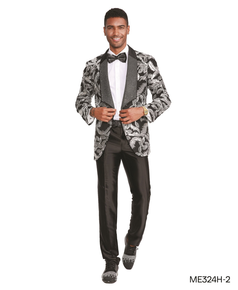 Silver Black Empire Show Blazers Formal Dinner Suit Jackets For Men ME324H-02