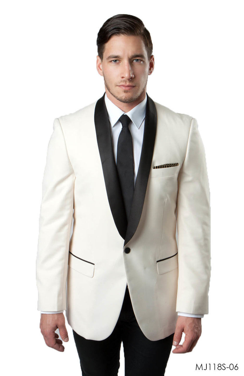 Ivory / Black Jackets For Men Jacket Suits For All Ocassions MJ118S-06
