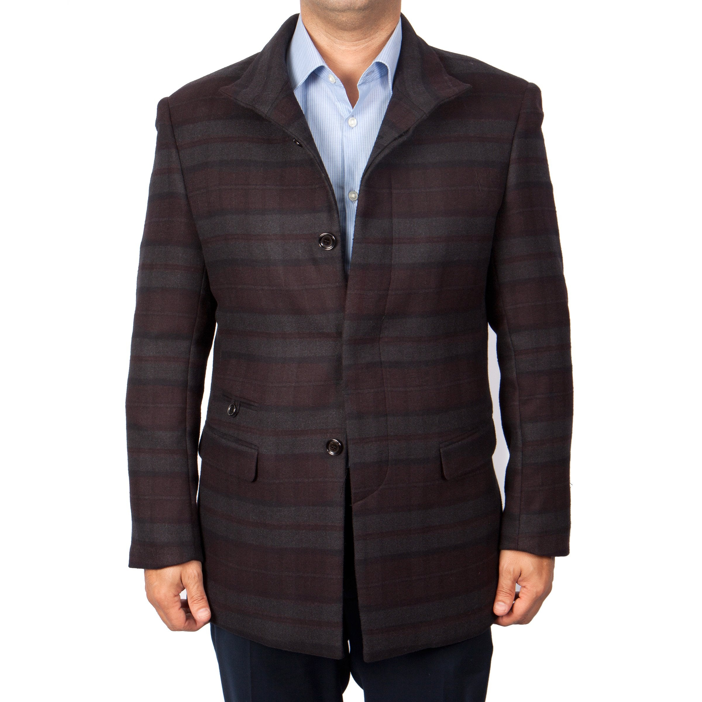 Mens Wool Two Button Madras Pattern Notch Lapel Sports Coat Blazer Jacket