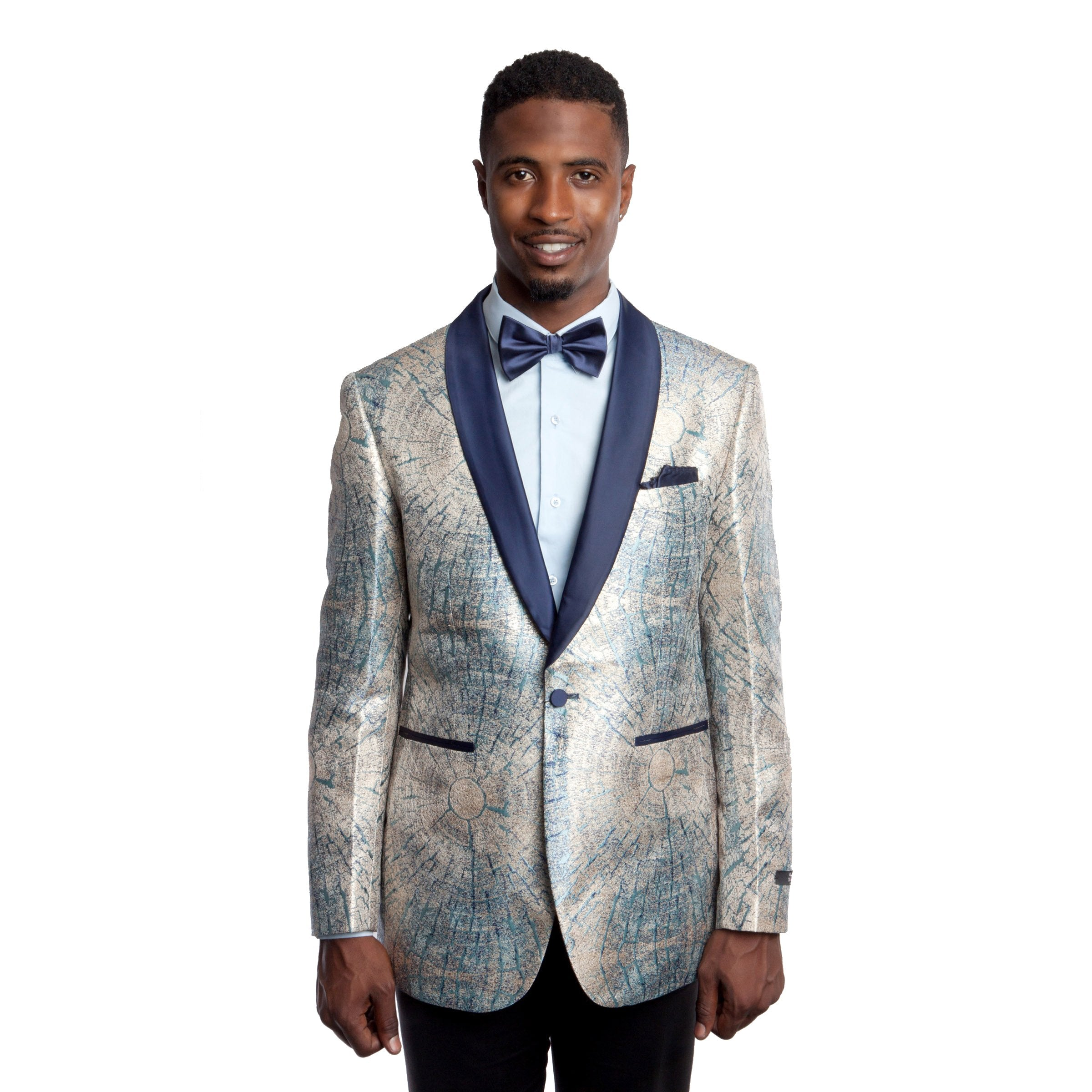 Modern Fit Shiny Pattern Design Satin Shawl Collar Blazer Jacket For Men