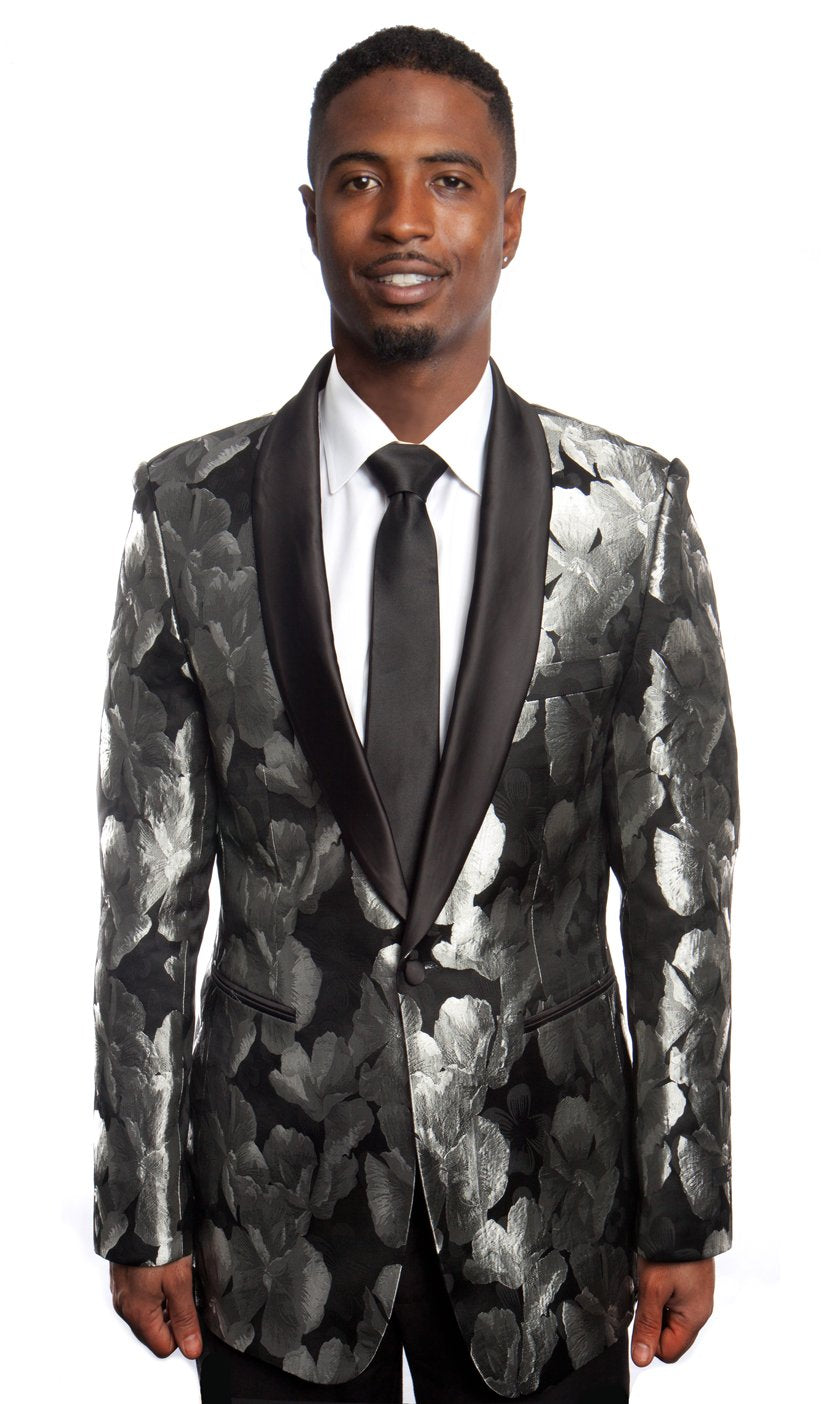 Modern Fit Satin Shawl Lapel Floral Pattern Mens Sports coat Blazer Jacket For Men