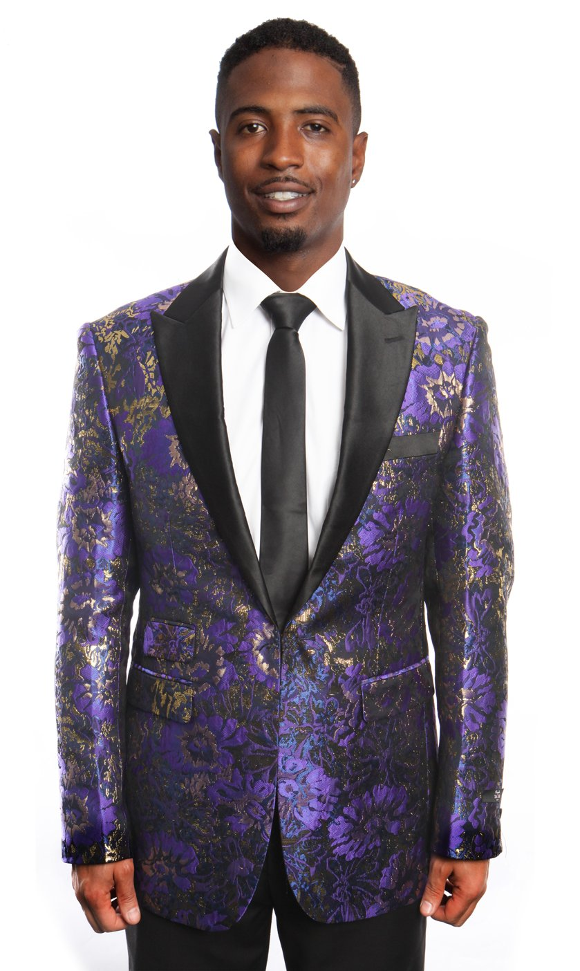 Modern Fit High Peak Lapel Paisley Pattern Mens Sports coat Blazer Jacket For Men