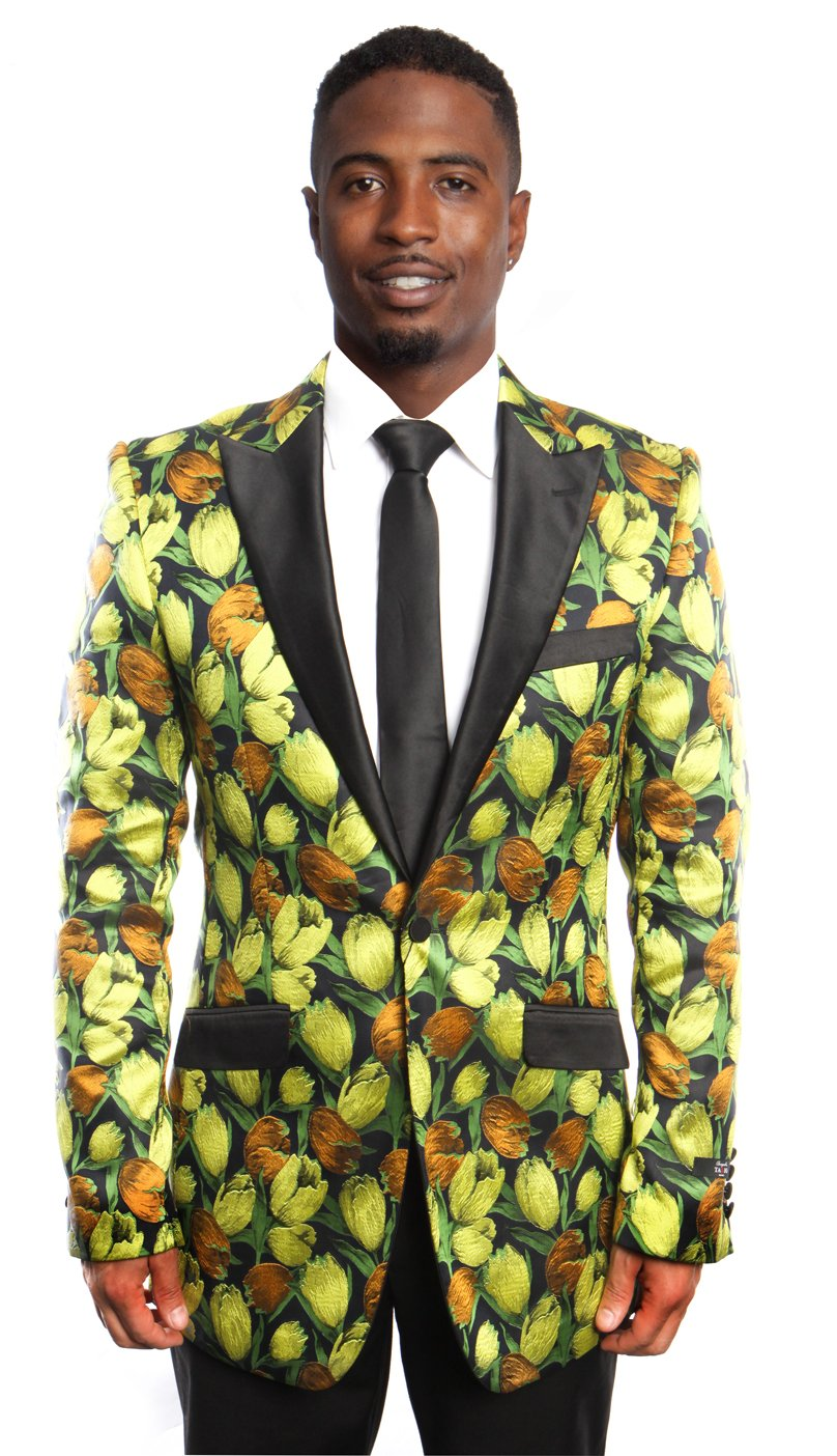 Modern Fit HIgh Peak Lapel Floral Design Sports coat Blazer Jacket For Men