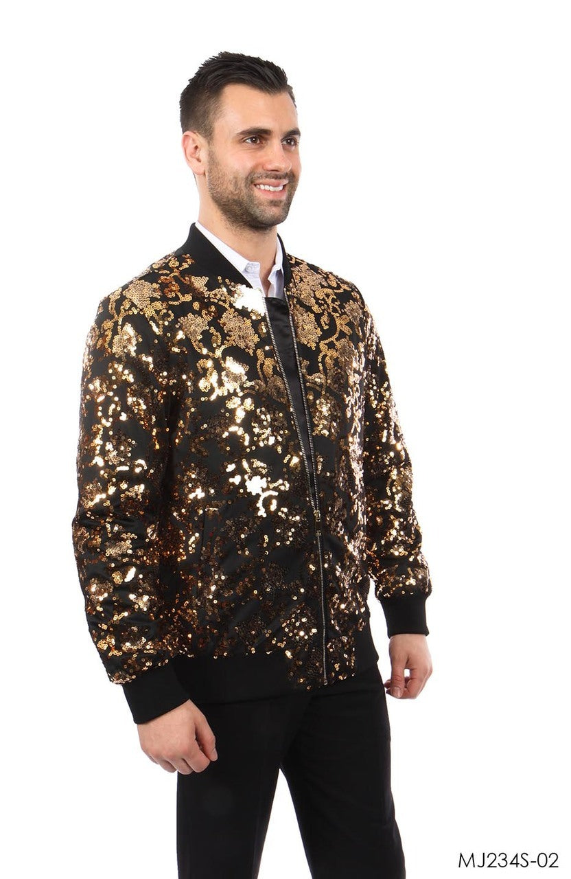 Gold / Black Jackets For Men Jacket Suits For All Ocassions MJ234S-02