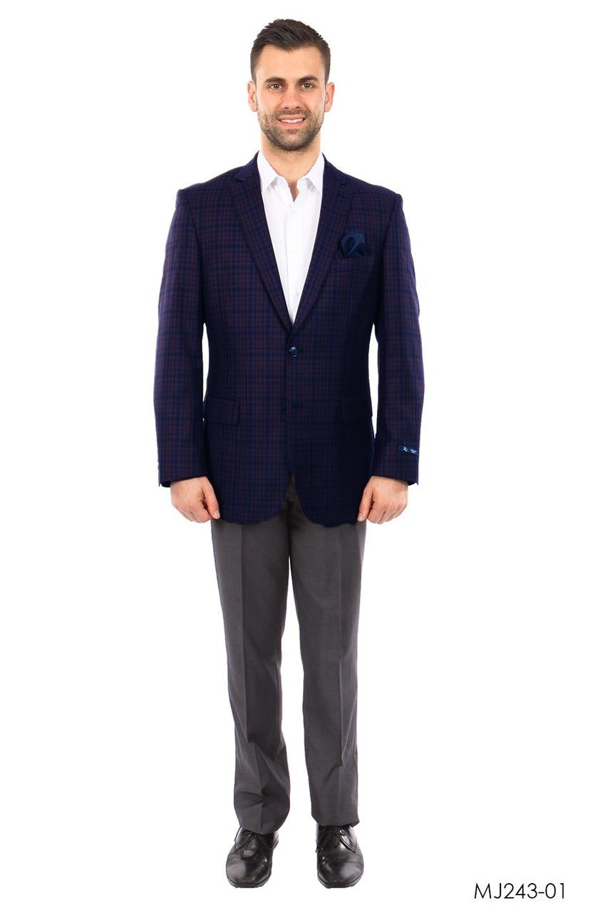 Purple / Blue Windowpane Tazio Sports Coat Dinner Jackets