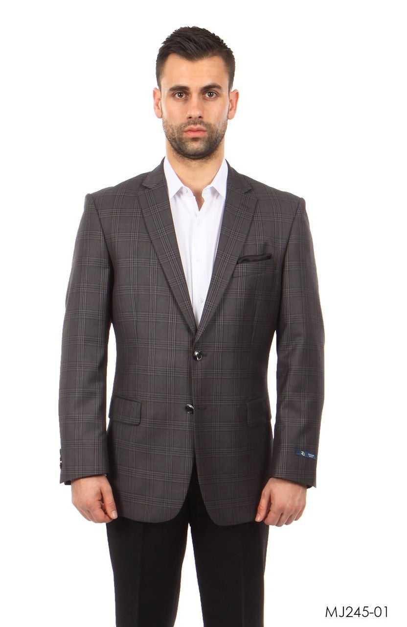 Grey Windowpane Tazio Sports Coat Dinner Jackets