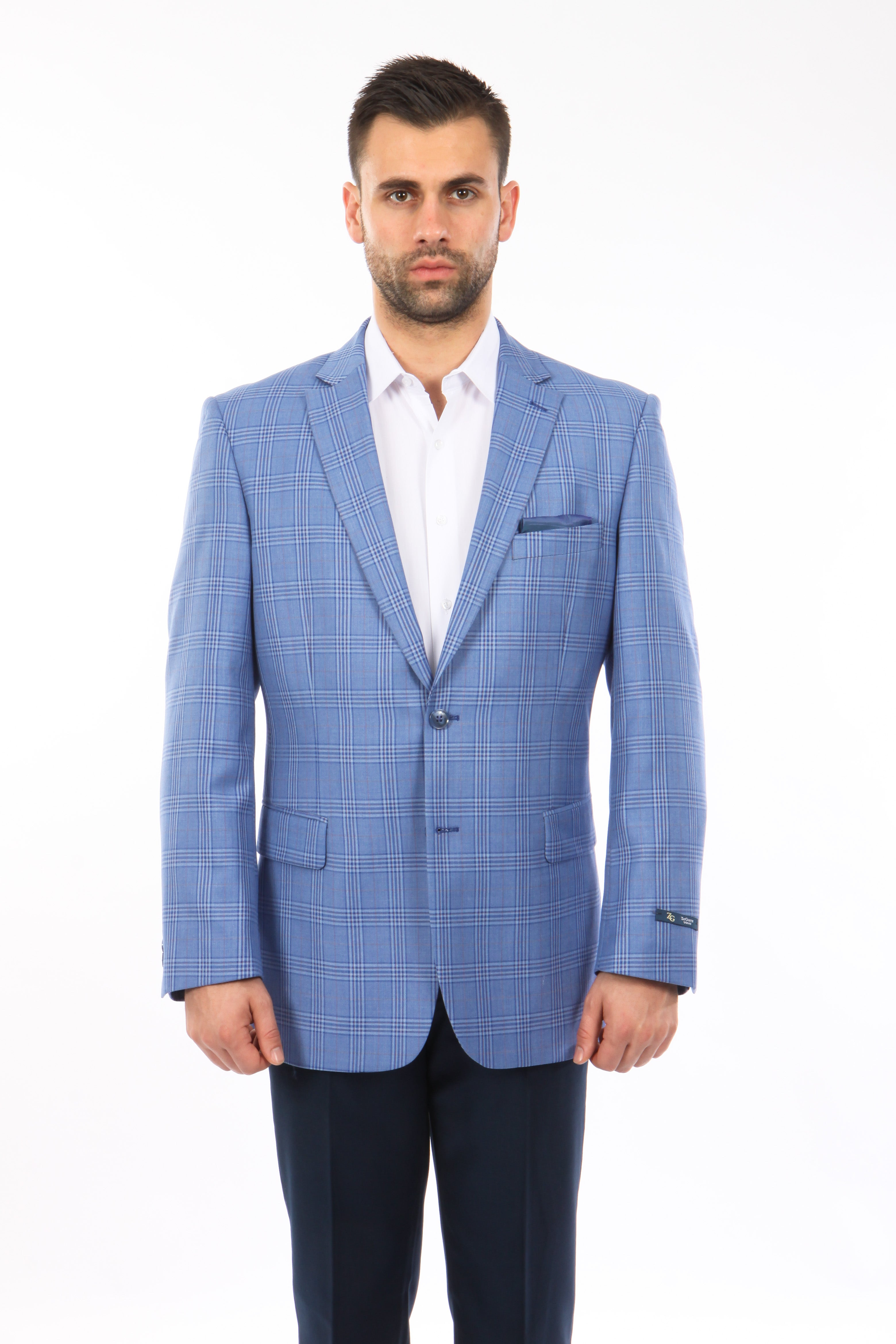 Sky Blue / Blue Windowpane Tazio Sports Coat Dinner Jackets