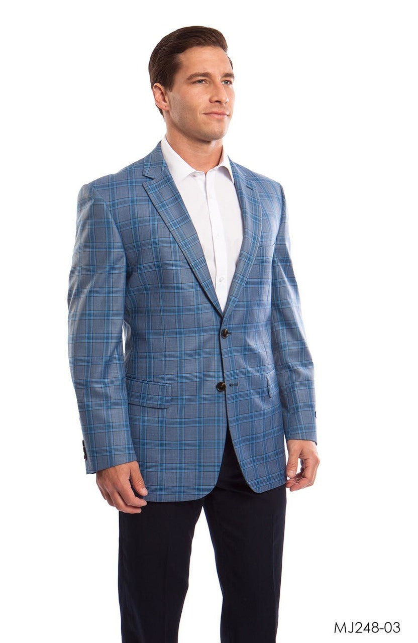 Tan / Blue Windowpane Tazio Sports Coat Dinner Jackets