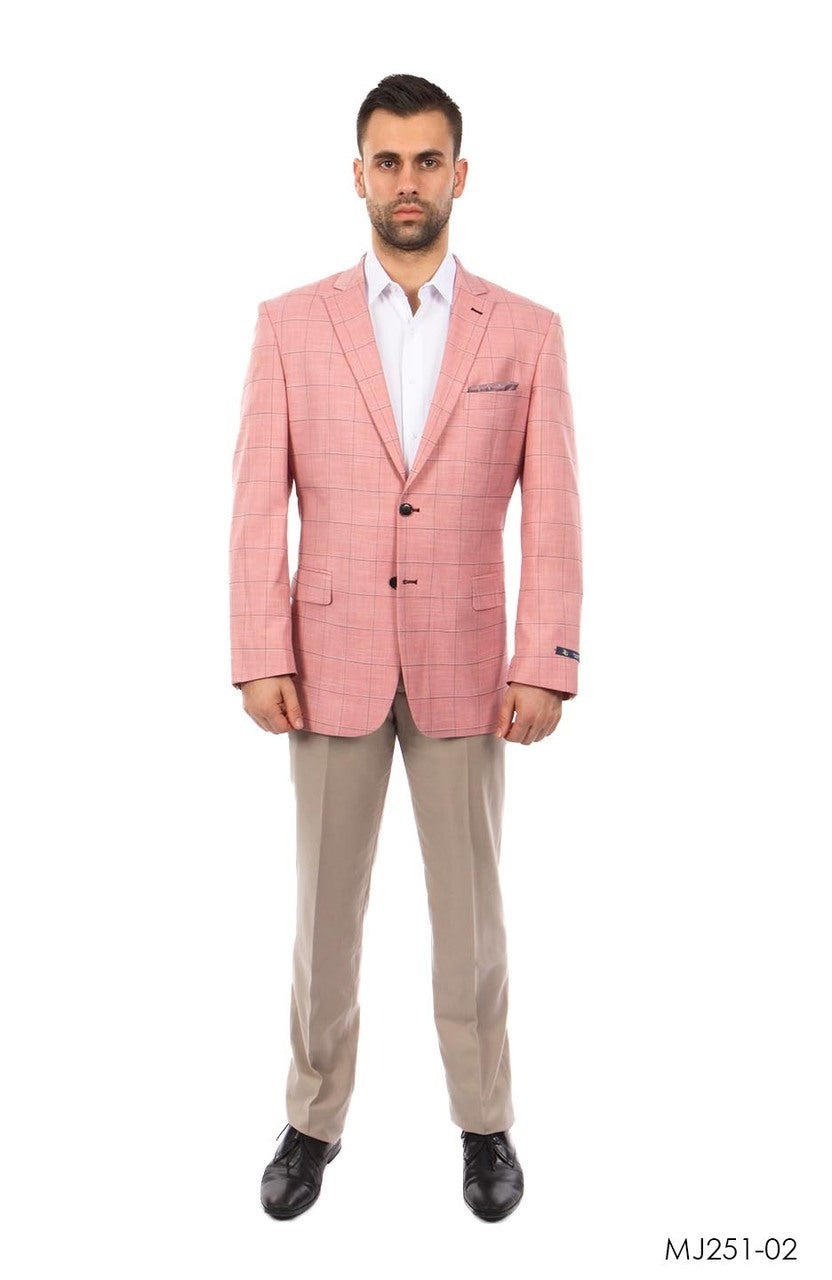 Rose / Grey Windowpane Tazio Sports Coat Dinner Jackets