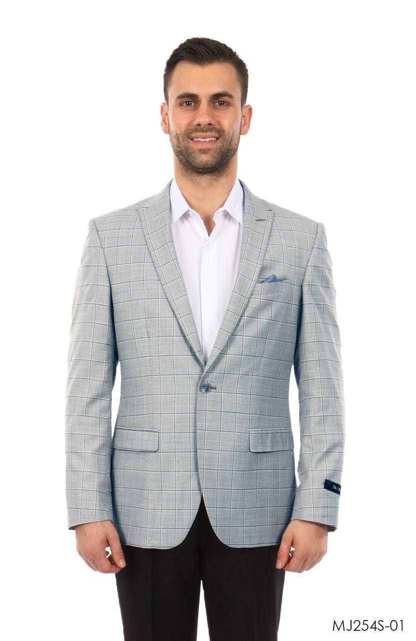 Grey / Blue Windowpane Tazio Sports Coat Dinner Jackets