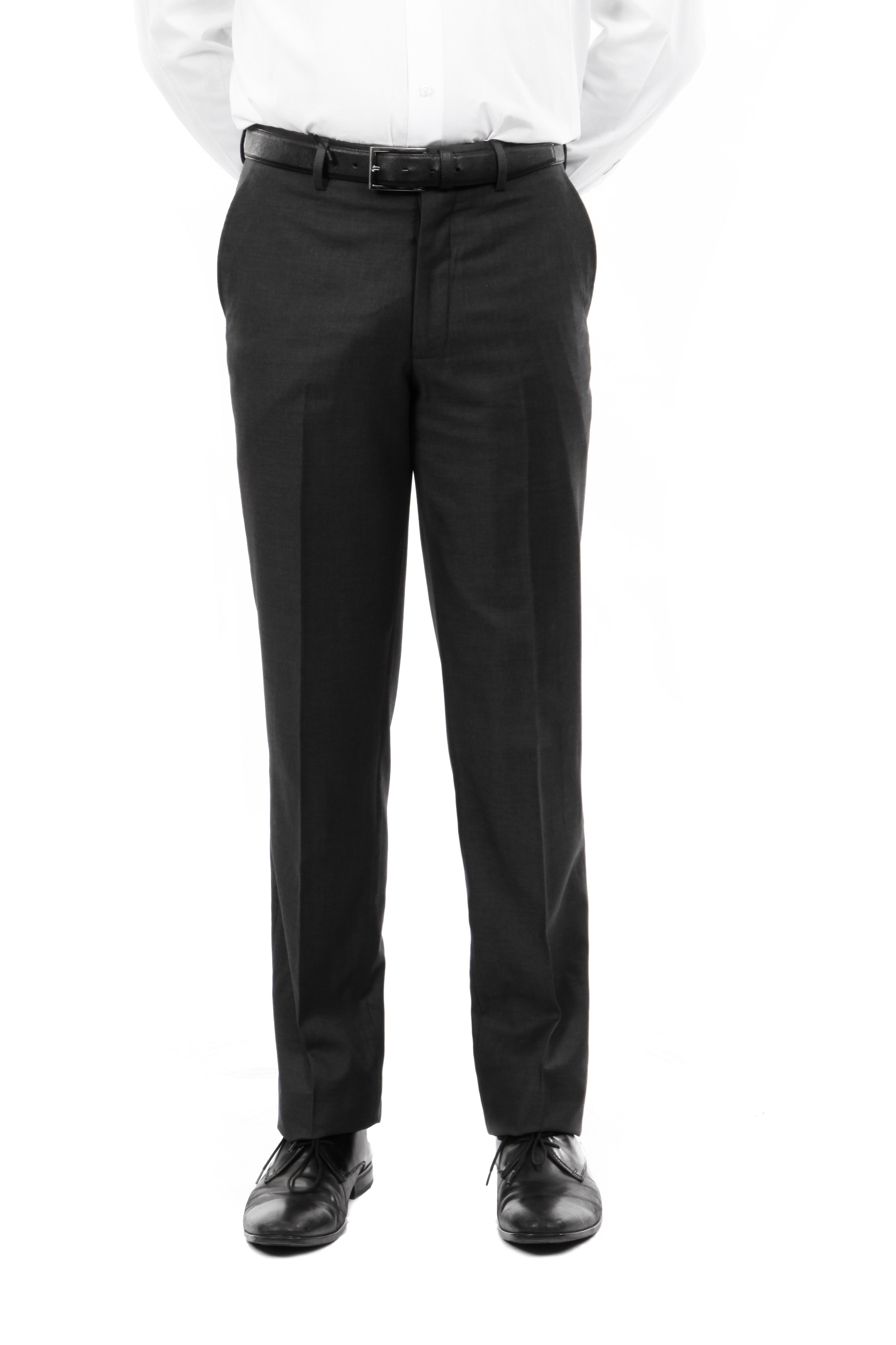 Demantie Black Performance Stretch Wool Dress Pants For Men