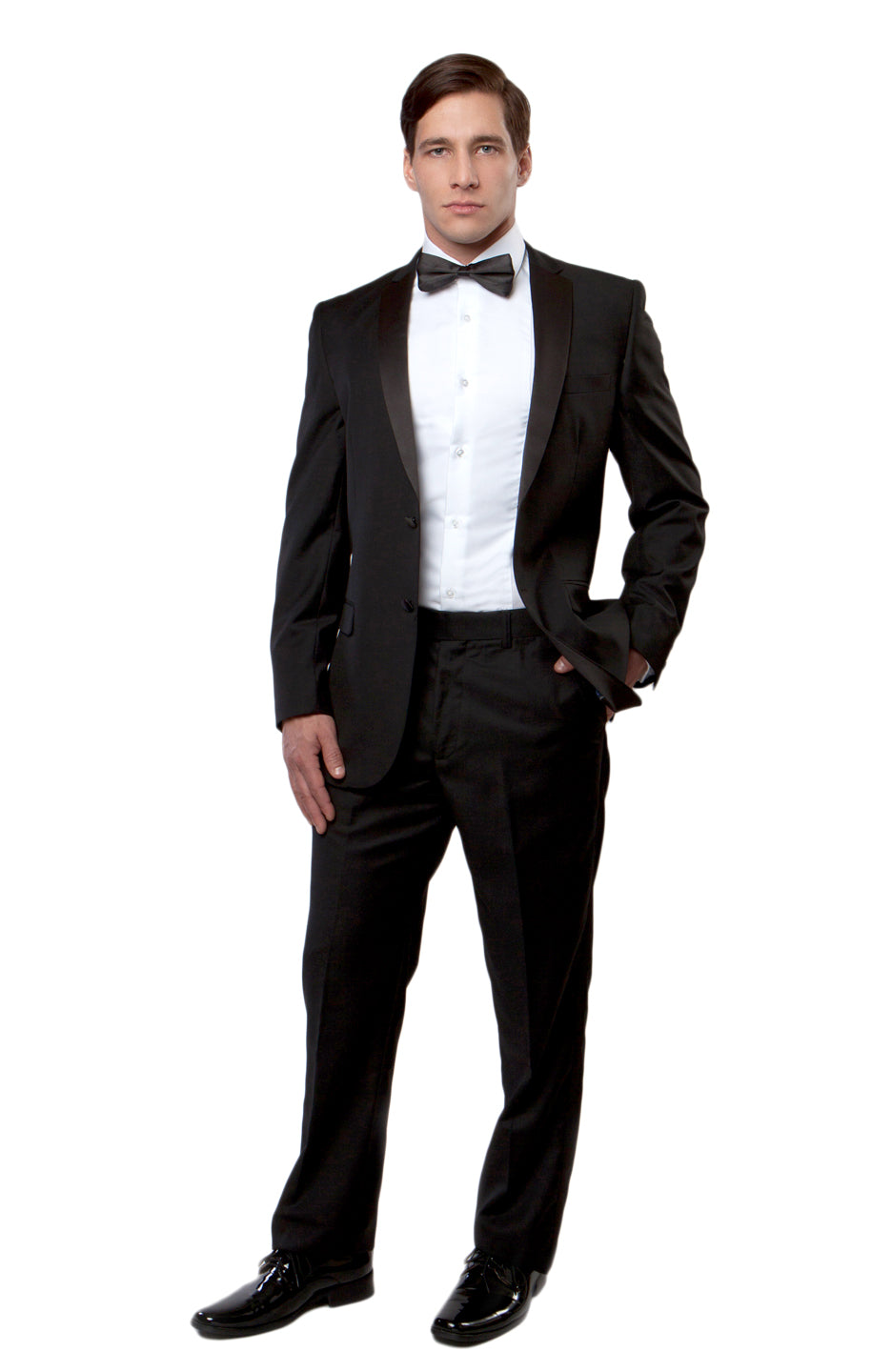 Solid Notch Lapel Tuxedo Solid Slim Fit Prom Tuxedos For Men