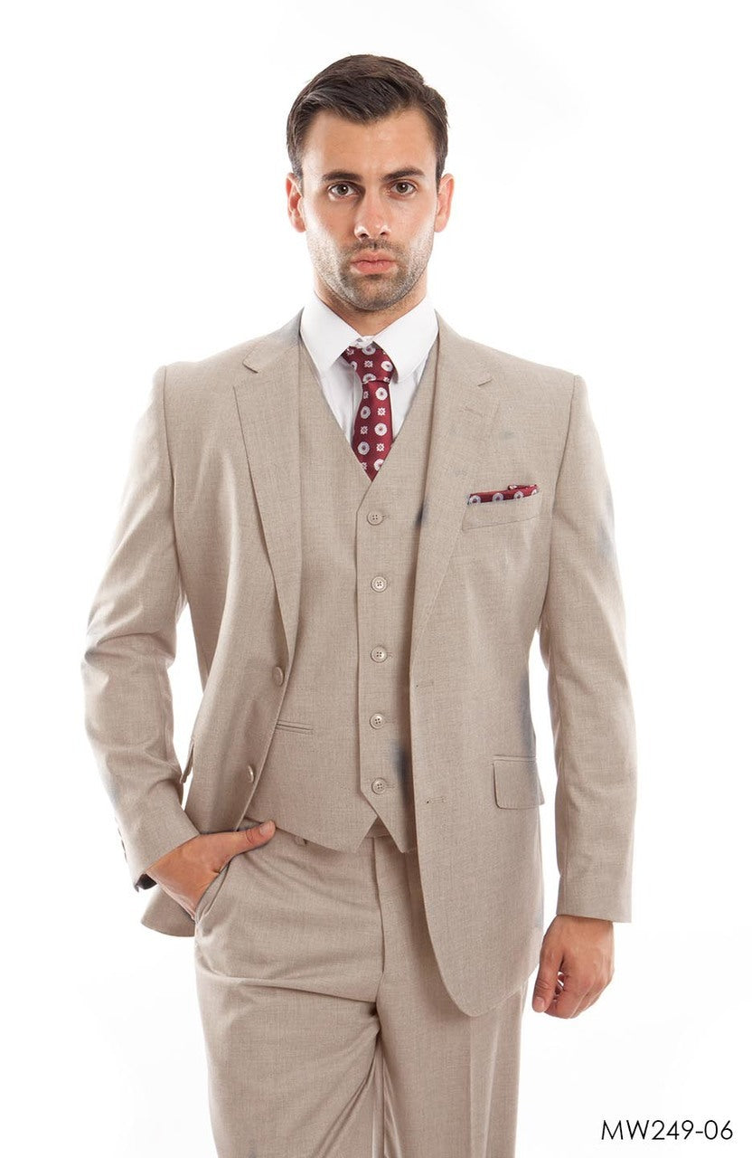 Tan Wool Blend Suit For Men Formal Suit Jackets For All Ocassions MW249-06