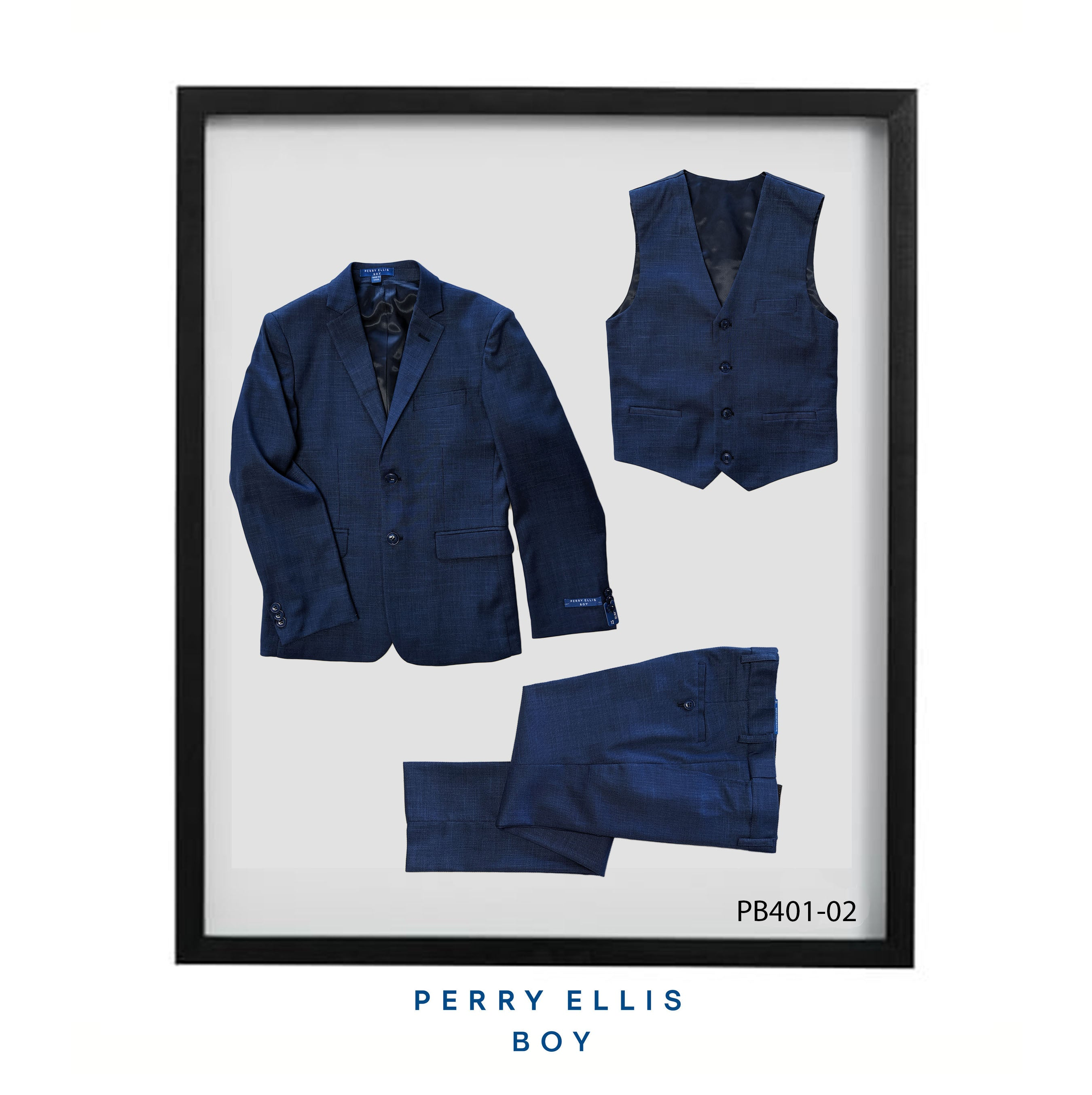 Blue 3 Piece Perry Ellis Textured Suits For Boys PB401-02