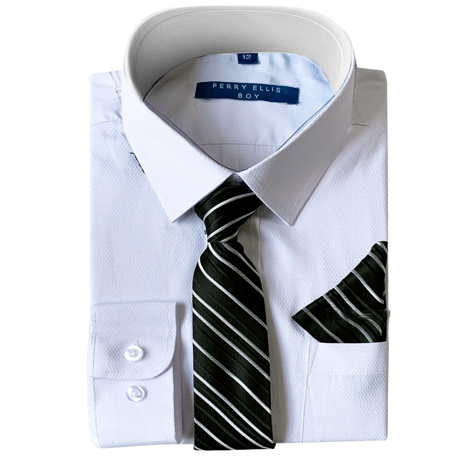 Perry Ellis Boys Dress Shirts w Black Tie Solid Shirts w Patterned Tie