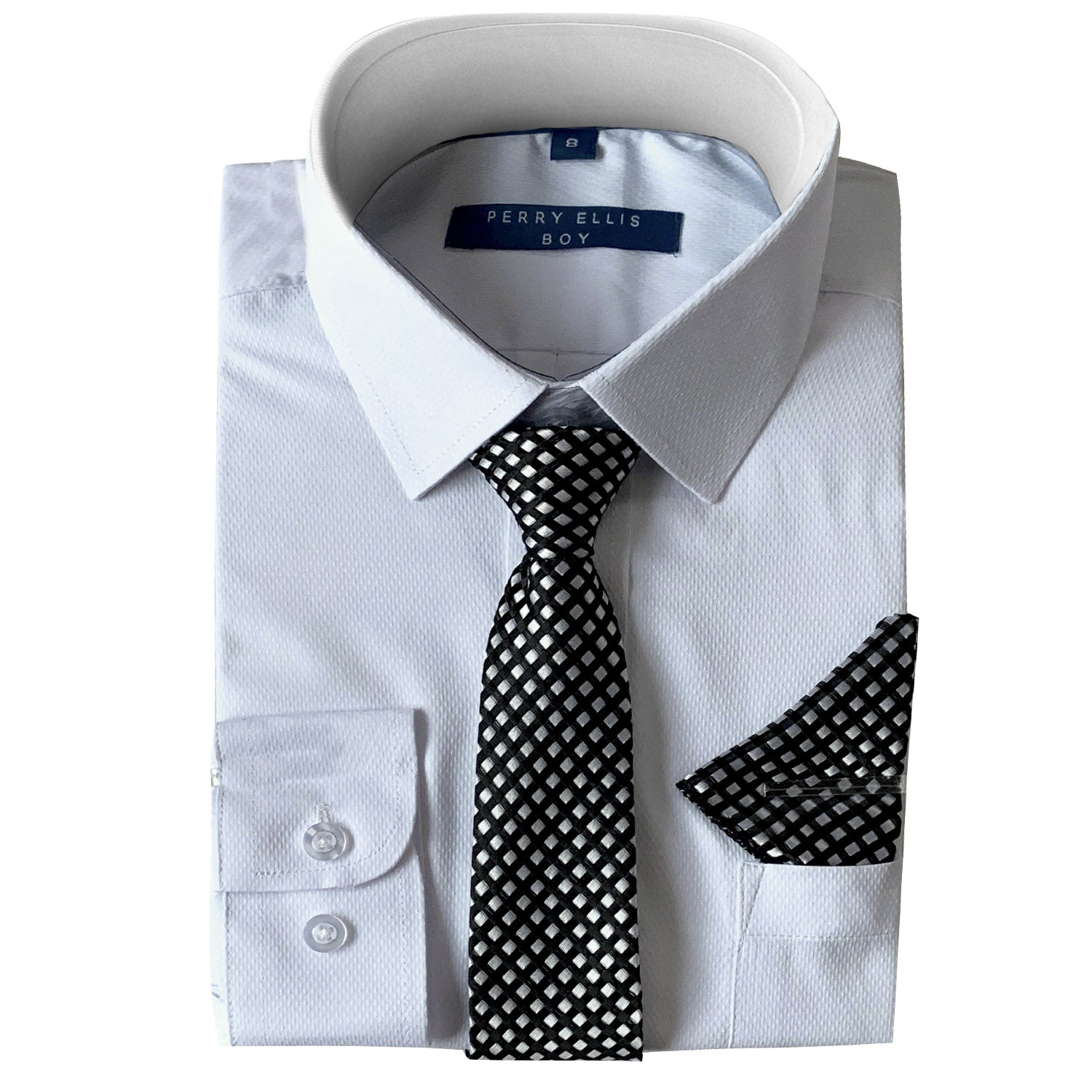 Perry Ellis Boys Dress Shirts w Lt Grey Tie Solid Shirts w Patterned Tie