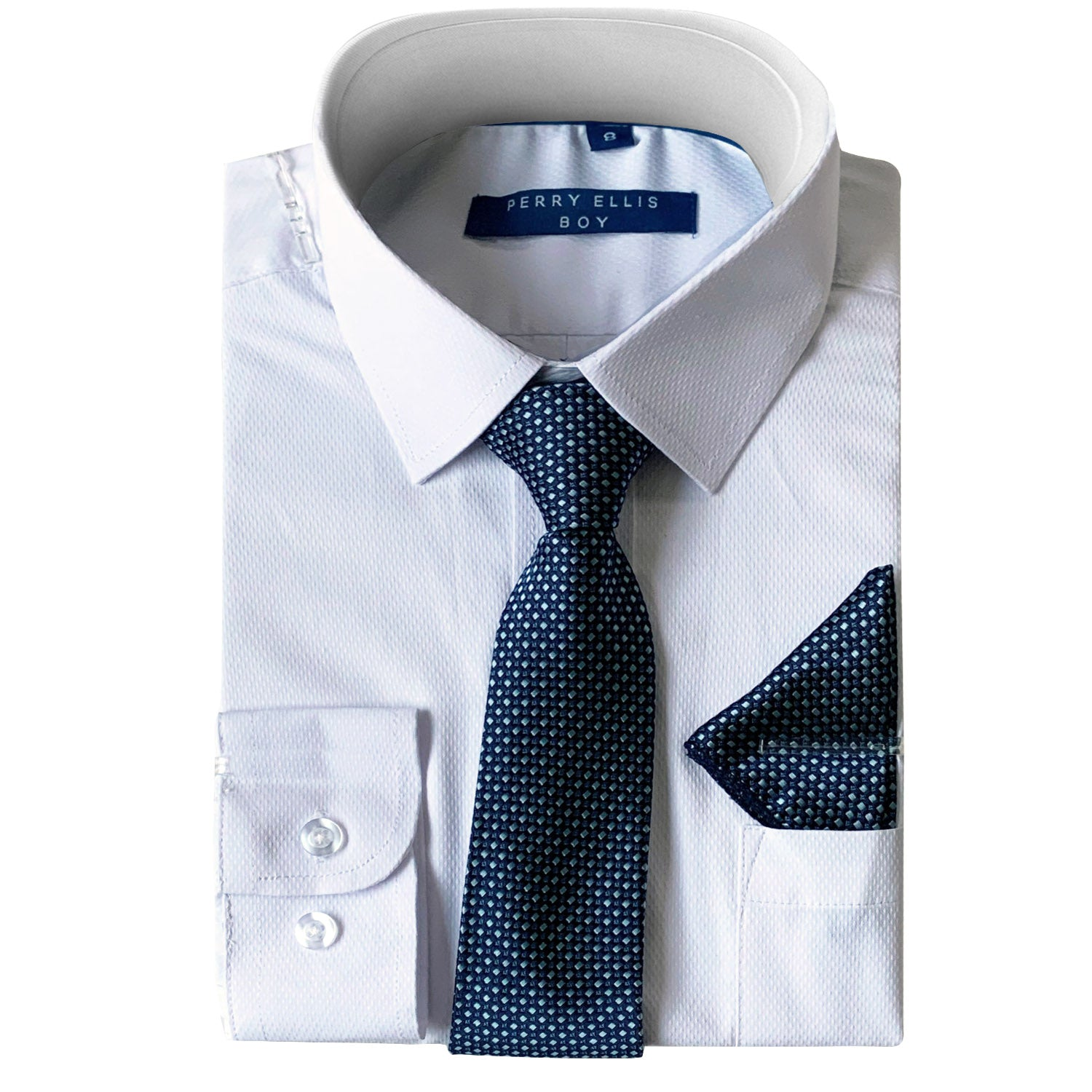 Perry Ellis Boys Dress Shirts w Indigo Tie Solid Shirts w Patterned Tie