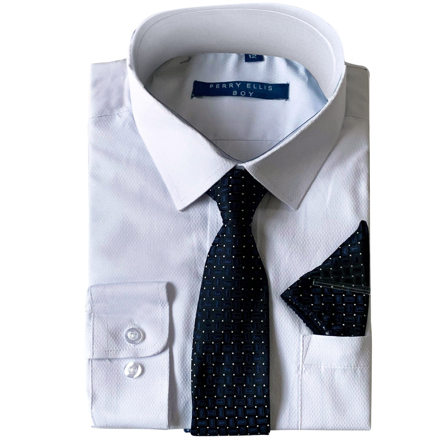 Perry Ellis Boys Dress Shirts w Navy Tie Solid Shirts w Patterned Tie