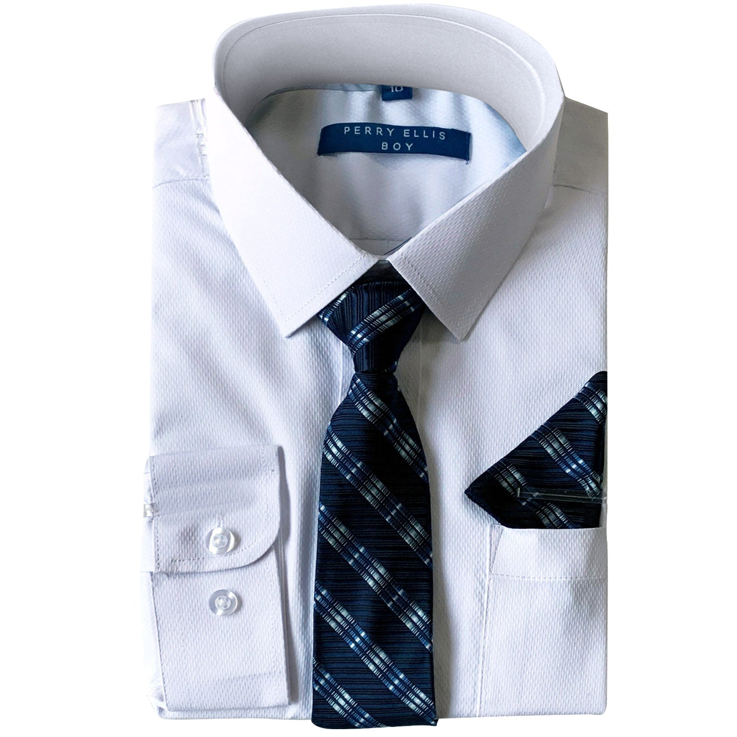 Perry Ellis Boys Dress Shirts w R Blue Tie Solid Shirts w Patterned Tie