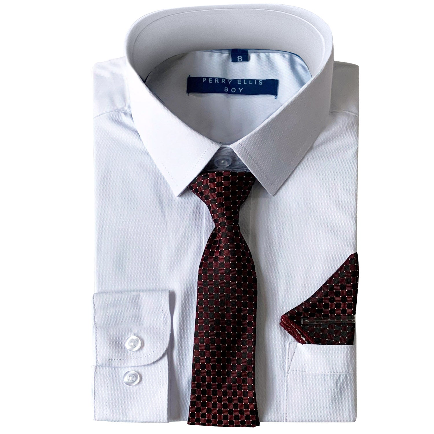 Perry Ellis Boys Dress Shirts w Burgundy Tie Solid Shirts w Patterned Tie