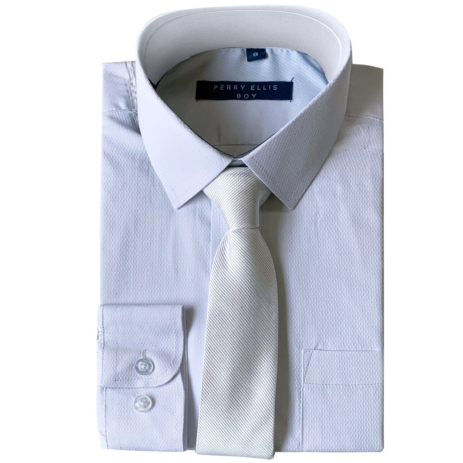 Perry Ellis Boys Dress Shirts w White Tie Solid Shirts w Colored Tie