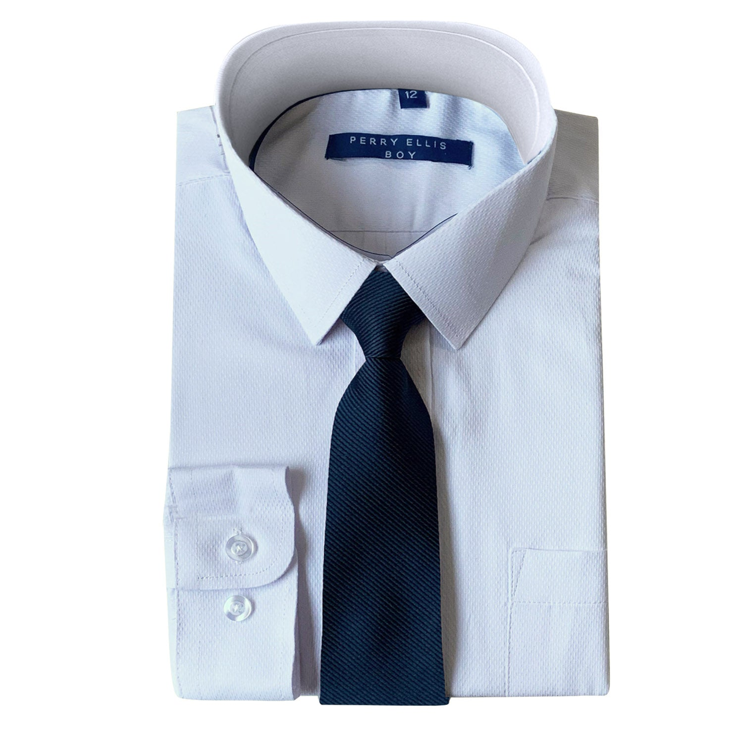 Perry Ellis Boys Dress Shirts w Indigo Tie Solid Shirts w Colored Tie