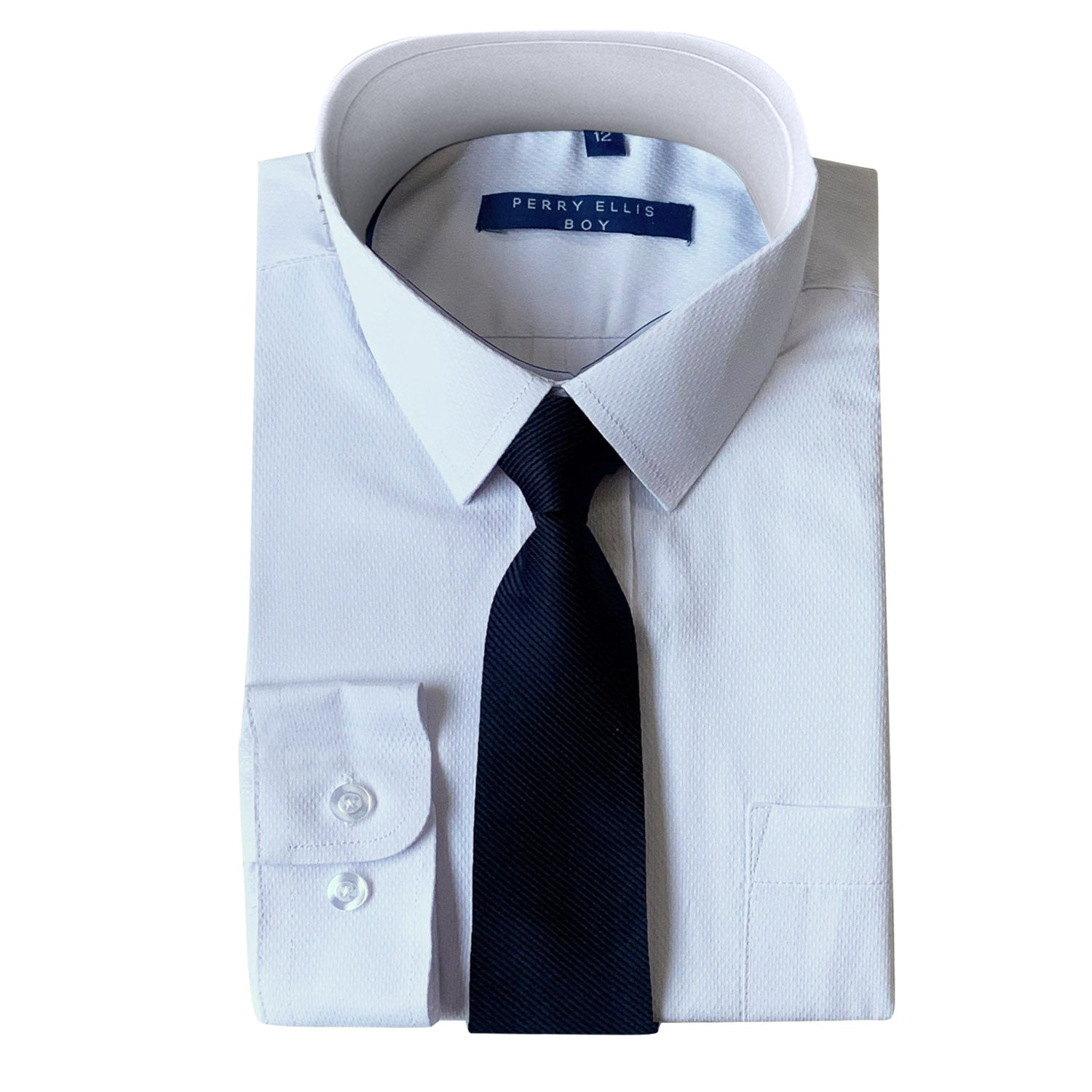 Perry Ellis Boys Dress Shirts w Navy Tie Solid Shirts w Colored Tie