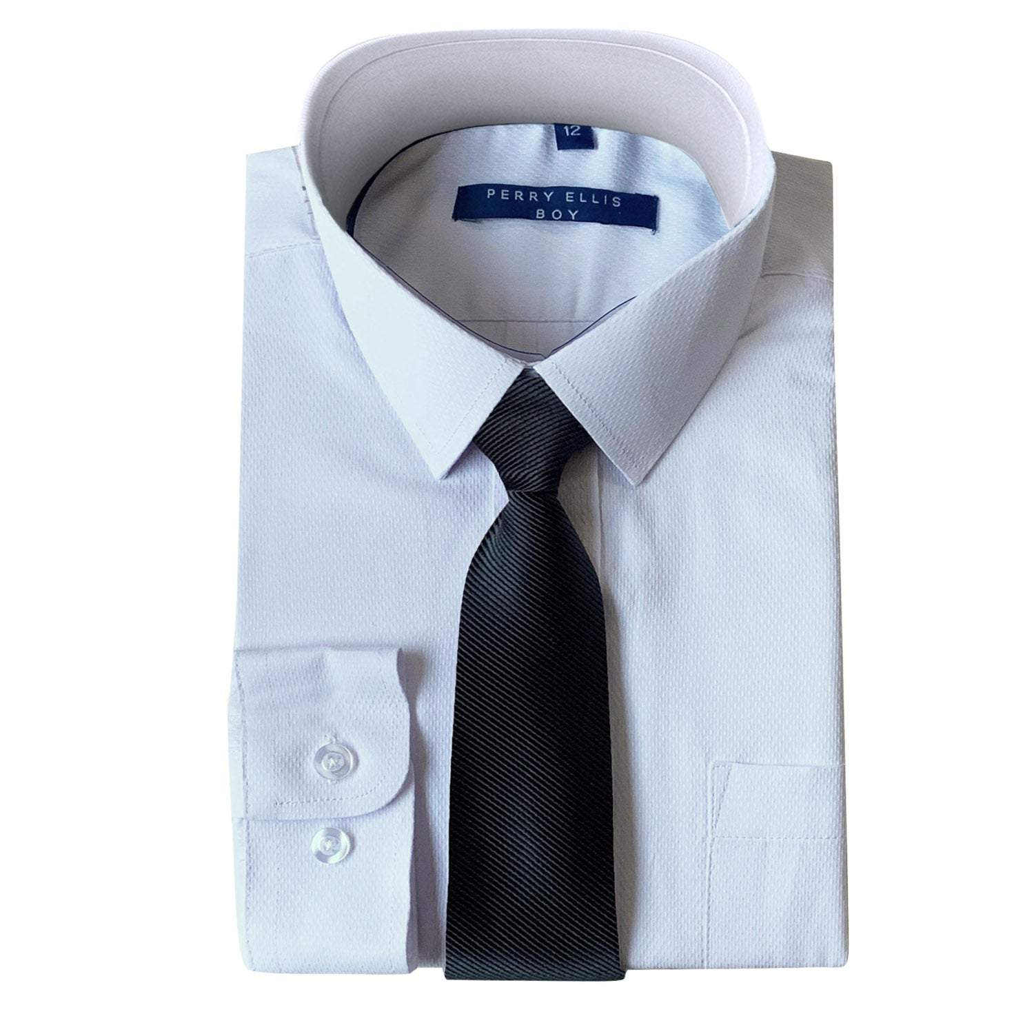 Perry Ellis Boys Dress Shirts w Mid Grey Tie Solid Shirts w Colored Tie