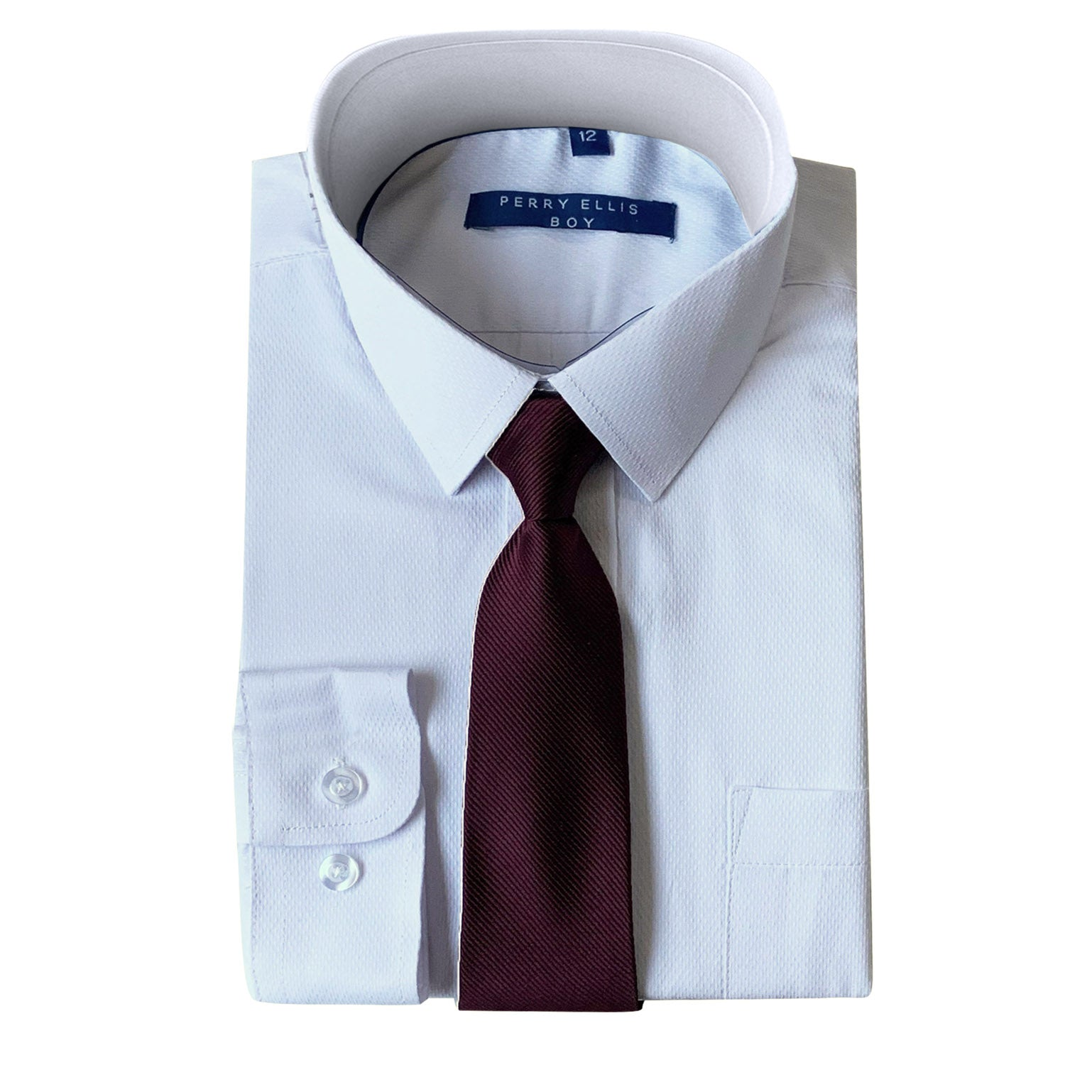 Perry Ellis Boys Dress Shirts w Burgundy Tie Solid Shirts w Colored Tie