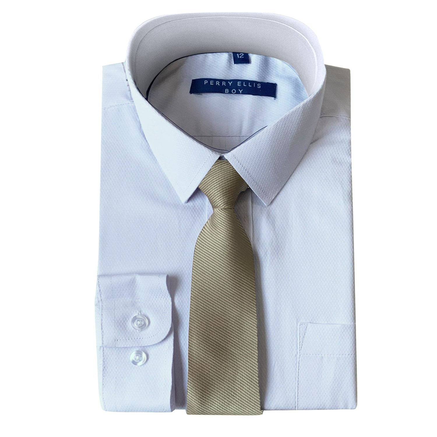 Perry Ellis Boys Dress Shirts w Tan Tie Solid Shirts w Colored Tie