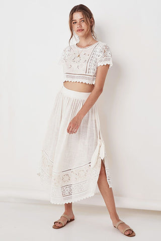 Abigail lace tie side skirt, white