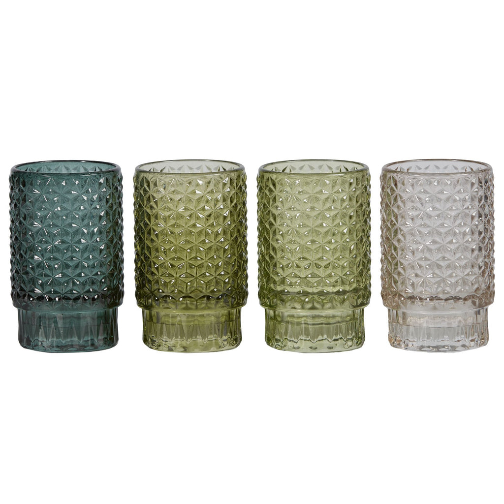 Lune garden, glass candle votives set of 4