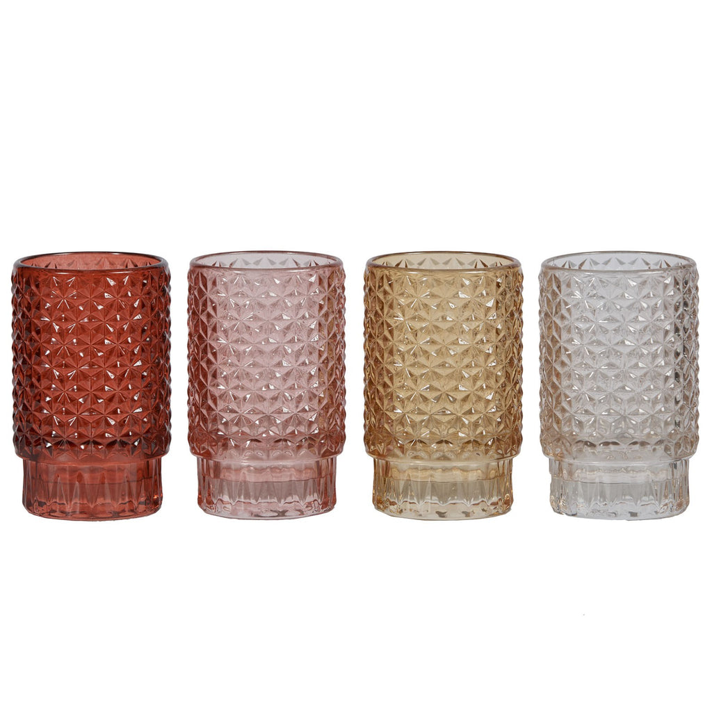 Lune spring time, glass candle votives set of 4