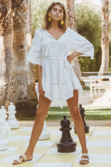 Abigail lace mini dress, white,