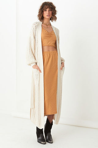 Heather long knit cardi, cream
