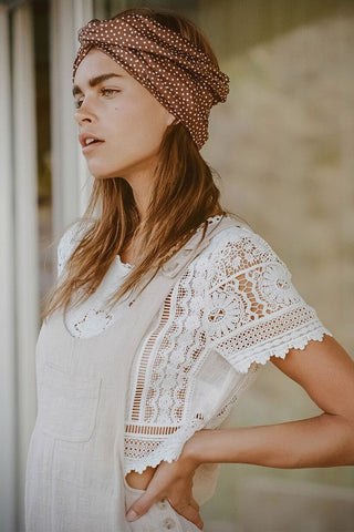 Abigail cropped lace top, white