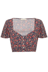 Jasmine Cropped Top - Navy