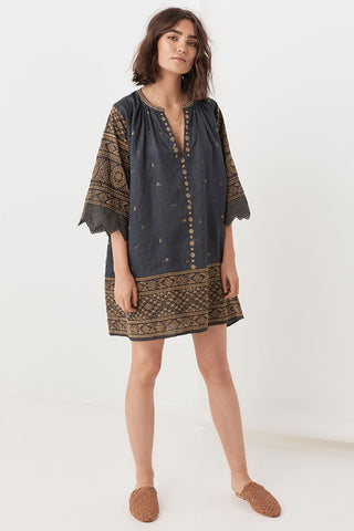 Muwala Embroidered Tunic Dress - Shadow