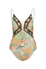 Cloud Dancer Tie Up One Piece - Sage