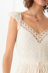 Le Gauze Lace Kerchief Dress, Off White