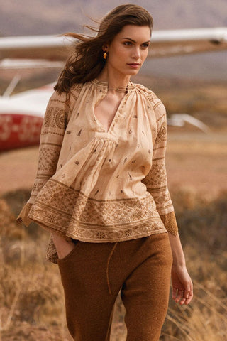 Muwala Embroidered Blouse - Almond