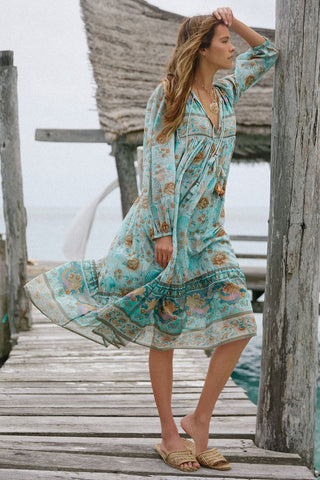 Seashell Boho dress - Seafoam