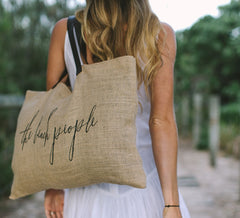 the beach people -jute beach bag