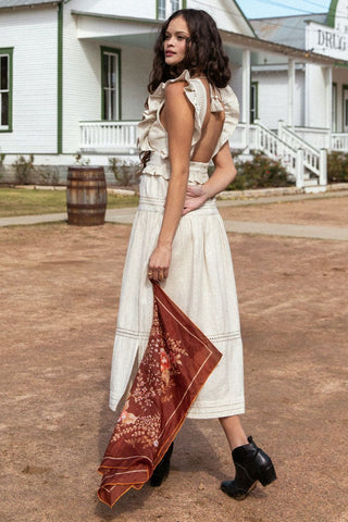 Lola Frill Maxi Dress, Biscuit