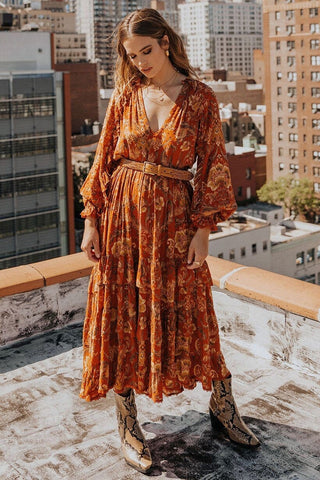 Aurora boho dress - burnt ember