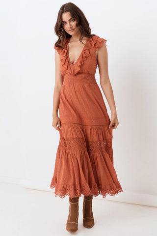 Daisy Chain Frill Maxi - Copper