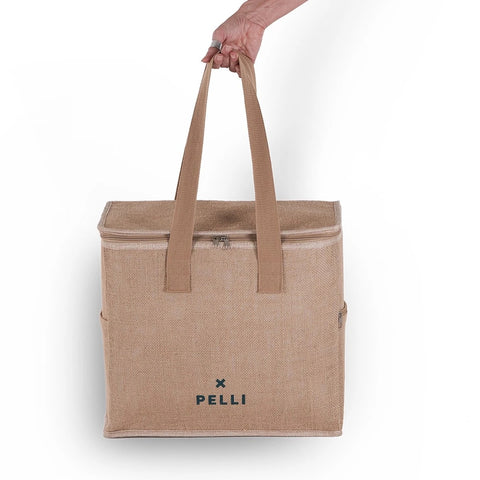 Ok chill medium cooler bag in natural jute