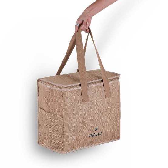 Chill homie large cooler bag in natural jute